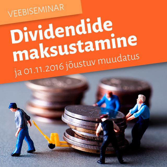 Picture of Dividendide maksustamine ja 01.11.2016 jõustuv muudatus